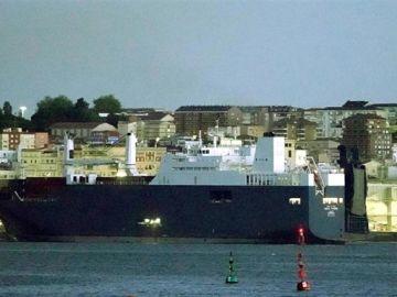 El barco saudí atracado en Bilbao