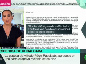 """La emotiva carta de la esposa de Alfredo Pérez Rubalcaba: """"Muchas gracias de todo corazón"""""""