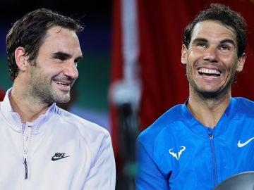 Roger Federer y Rafa Nadal, tras uno de sus partidos