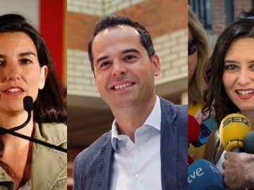 Rocío Monasterio (Vox), Ignacio Aguado (Cs) e Isabel Díaz Ayuso (PP)