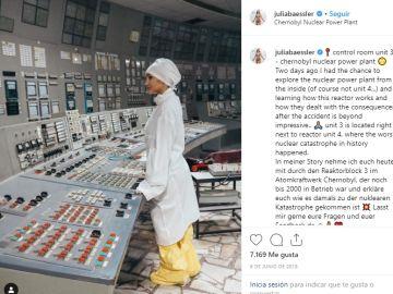 Julia Baessler en la central nuclear de Chernóbil