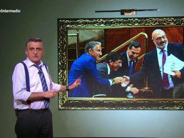 """La 'obra de arte' que muestra """"la triada de palmeros andaluces"""": """"Los personajes entregan políticas arcaicas y chalecos de plumas"""""""
