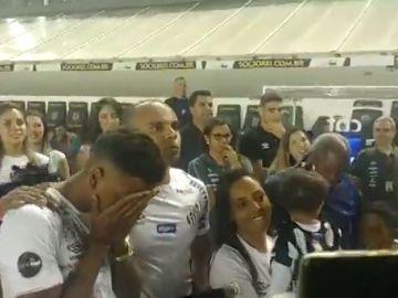 Las lágrimas de Rodrygo en su despedida con el Santos