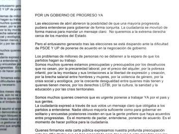 El mundo de la cultura pide a Podemos y al PSOE un gobierno de progreso
