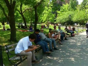 Personas a la sombra en un parque