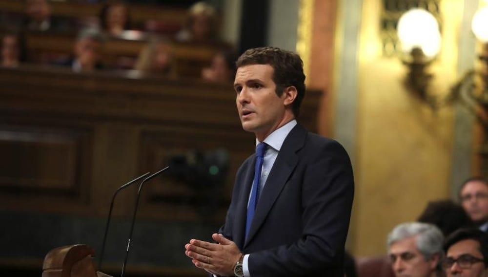 Pablo Casado, durante su discurso en la investidura de Pedro Sánchez