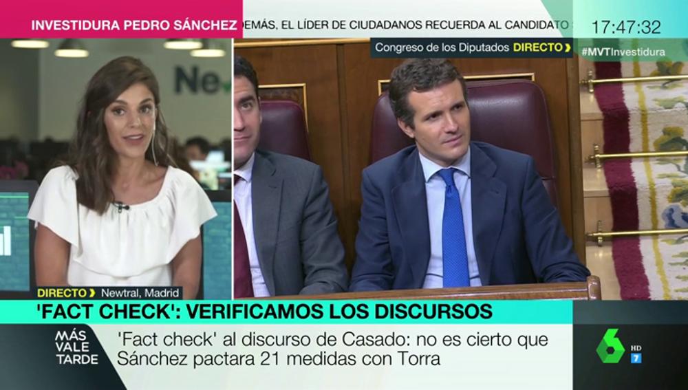 'Fat check' al discurso de Casado: no es cierto que Sánchez pactara 21 medidas con Torra
