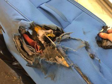Así ha quedado la maleta de una pasajera de Vueling