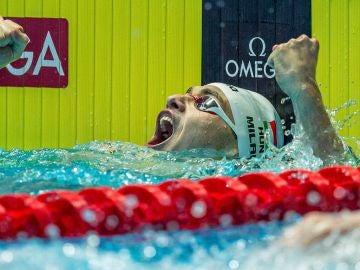 Kristof Milak, tras lograr el oro en los 200 mariposa