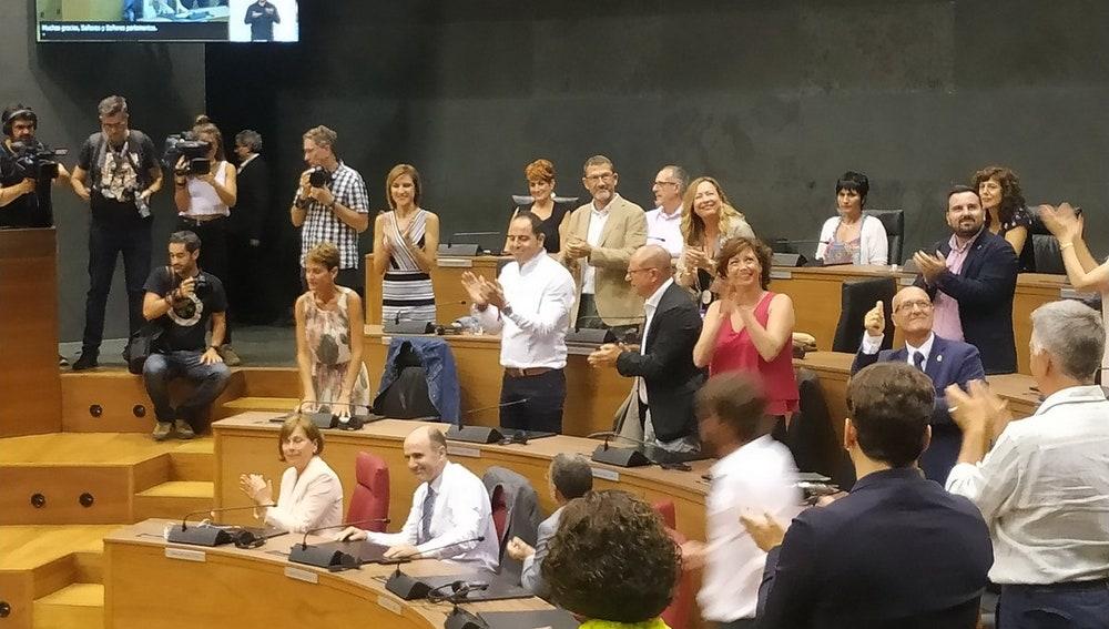 María Chivite tras ser investida presidenta de Navarra