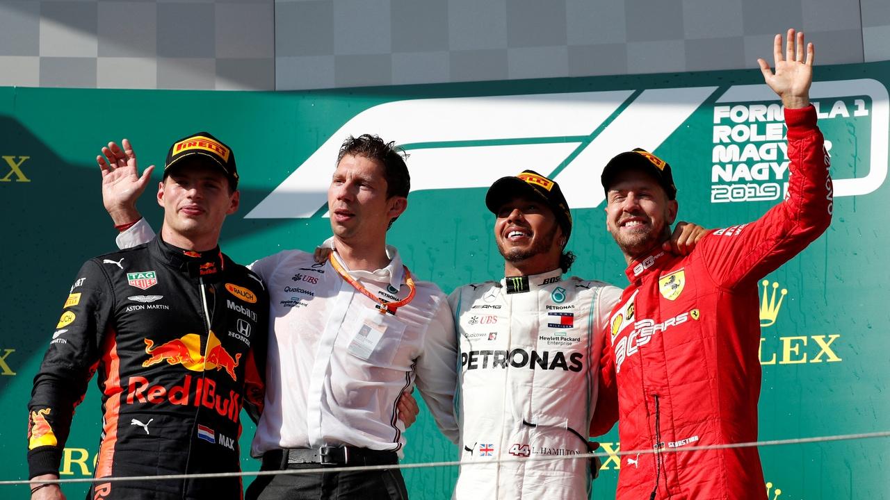 Verstappen, Hamilton y Vettel, en el podio del GP de Hungría