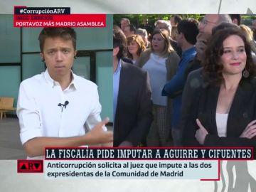 """Íñigo Errejón: """"Díaz Ayuso es nueva en el PP como lo fue Cifuentes, a la que Anticorrupción pide imputar"""""""