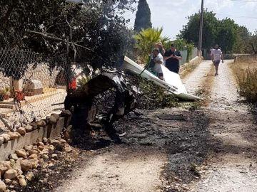 Lugar del accidente entre una avioneta y un helicóptero en Mallorca