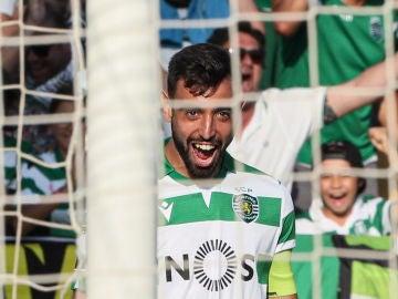 Bruno Fernandes, celebrando un gol con el Sporting de Lisboa