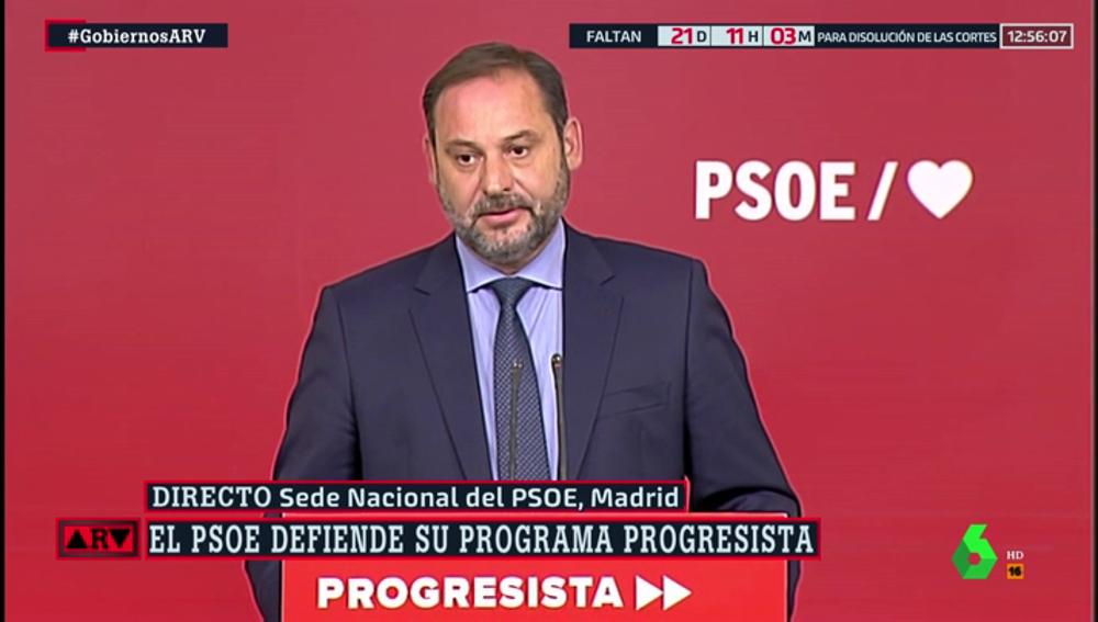 "José Luis Ábalos (PSOE): ""Esta semana nos vamos a poner en contacto con Unidas Podemos para que se reúnan los equipos negociadores"""