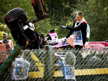 Los restos del accidente en el que murió Hubert