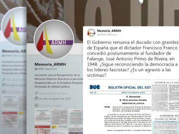 La Asociación para la Recuperación de la Memoria Histórica denuncia la renovación del ducado de Primo de Rivera
