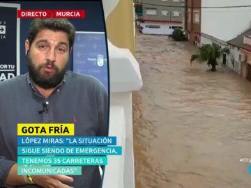 """Fernando López Miras: """"El cielo está despejado, pero los daños persisten y no son visuales porque están bajo el lodo"""""""