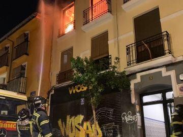 Imagen del incendio en Lavapiés