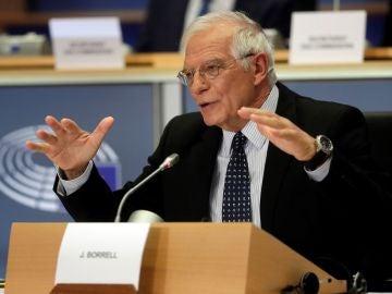 Josep Borrell durante su examen para ser designado jefe de la diplomacia europea