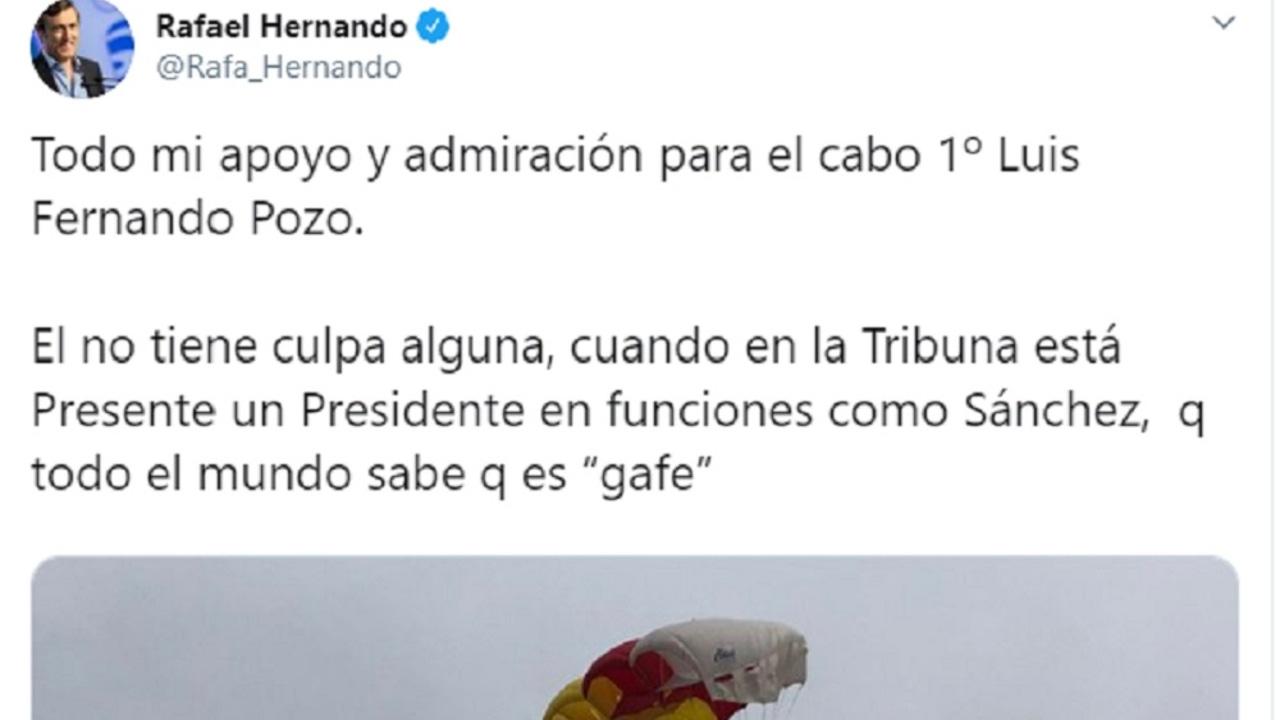 Imagen del tweet de Rafael Hernando