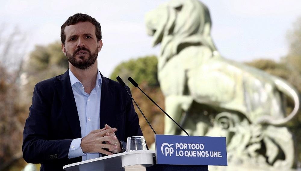 Pablo Casado en un acto en el Parque Retiro de Madrid