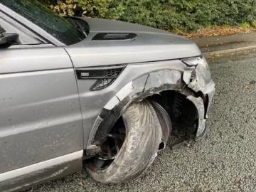 El Range Rover Lumma CLR SV de Kun Agüero tras el accidente
