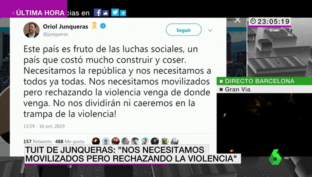 """Junqueras  condena a los grupos violentos que se manifiestan en Barcelona: """"Nos necesitamos movilizados pero rechazando la violencia"""""""