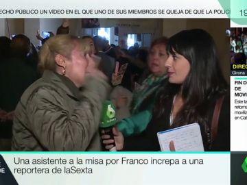 """Una asistente a la misa por Franco increpa en pleno directo a una reportera de laSexta: """"No tenéis vergüenza"""""""