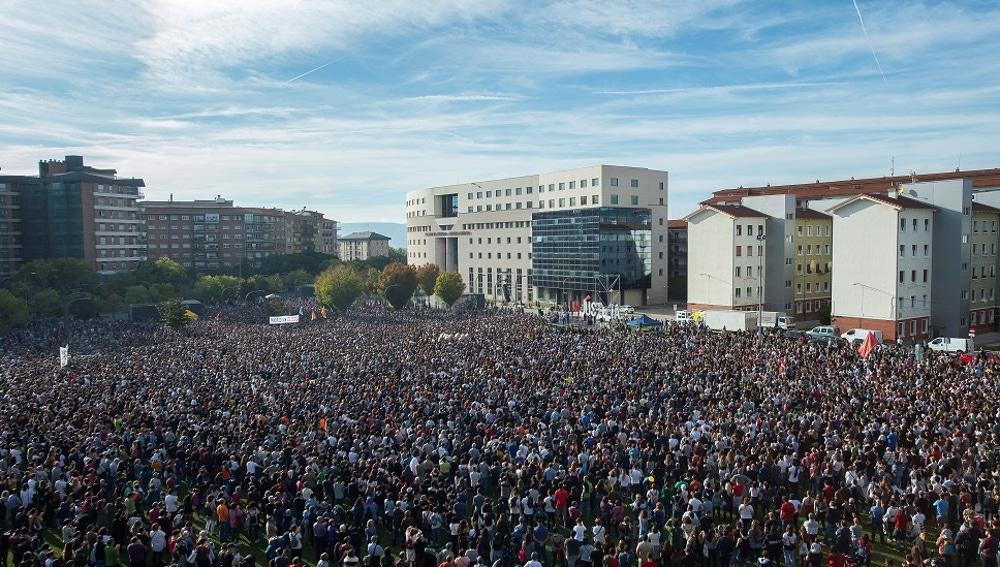 Imagen de personas protestanto en Pamplona contra la sentencia del caso Alsasua