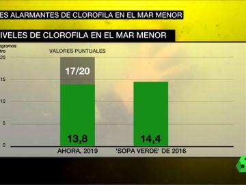 Los expertos alertan: los niveles de clorofila en el Mar Menor ya superan a los de la 'Sopa Verde' de 2016