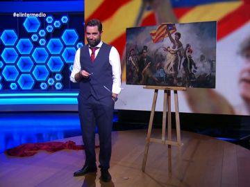 """La obra de arte de El Intermedio para Carles Puigdemont: """"Se le ven los melones; no lleva sujetador porque está en contra de la opresión"""""""