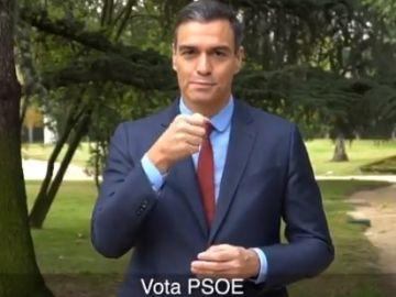 Pedro Sánchez pide el voto en lengua de signos