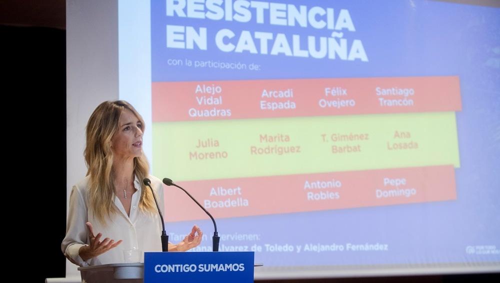 Cayetana Álvarez de Toledo en un acto electoral en Barcelona