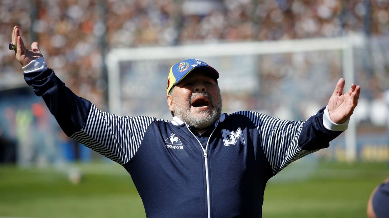 Maradona, en un partido