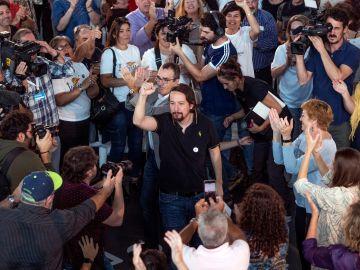 Iglesias en un acto electoral en A Coruña