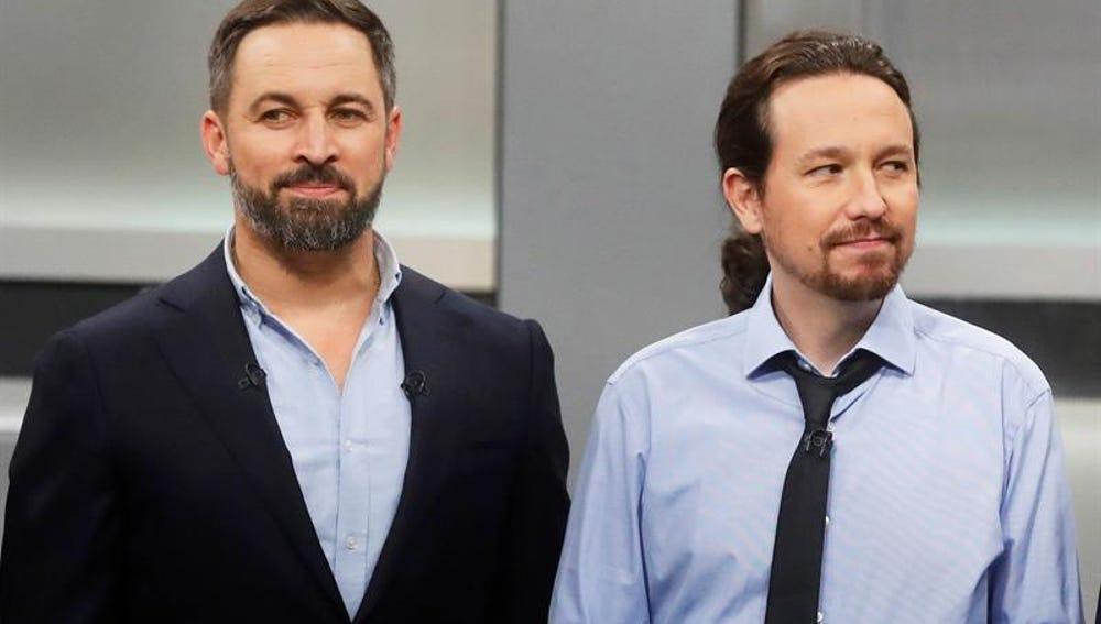 Santiago Abascal y Pablo Iglesias en el debate del 4N