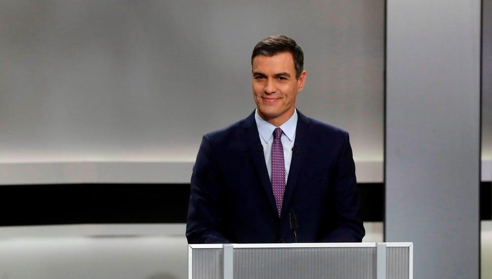 Pedro Sánchez, candidato socialista a la presidencia del Gobierno, durante el debate electoral