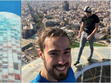 Leo Urban y Nico Mathieux escalando la torre Glòries