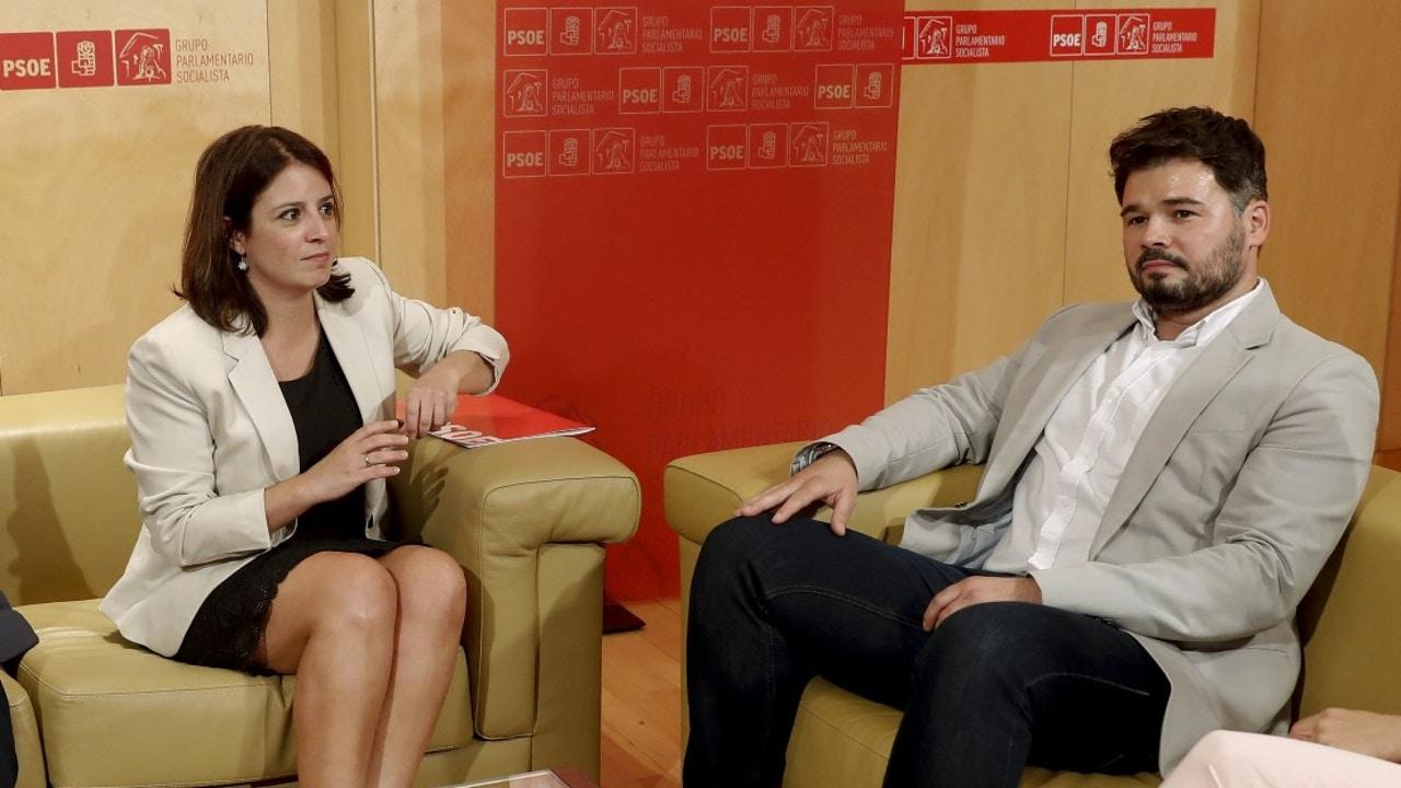 Adriana Lastra y Gabriel Rufián en el Congreso en una imagen de archivo