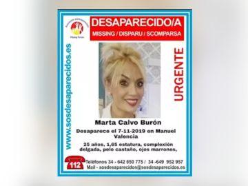 Cartel de búsqueda de Marta Calvo