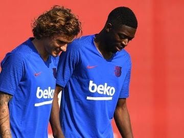Griezmann y Dembélé, en un entrenamiento con el FC Barcelona