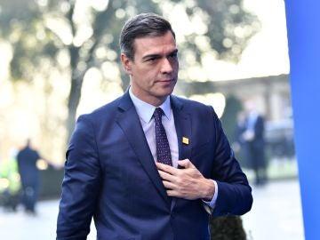 Pedro Sánchez, a su llegada a la cumbre de la OTAN