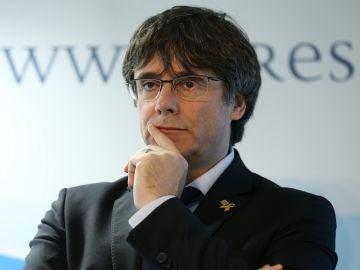 Carles Puigdemont durante un acto en Bruselas