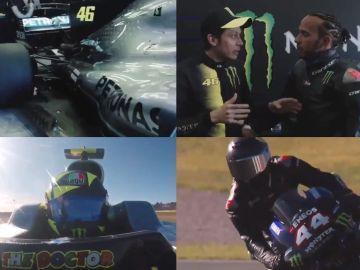 Imágenes del estelar intercambio entre Rossi y Hamilton en Cheste
