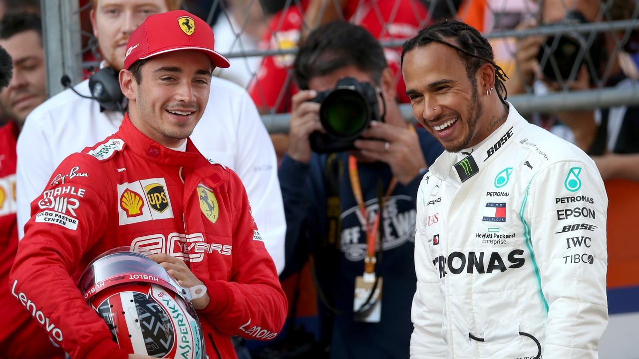 Leclerc y Hamilton, durante un Gran Premio
