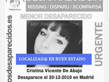 Encuentran en buen estado a la menor de 14 años desaparecida en Madrid