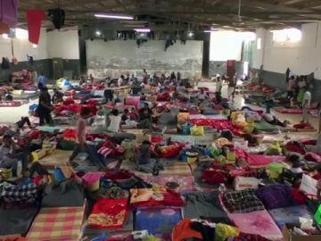 Centro de detención para migrantes en Libia