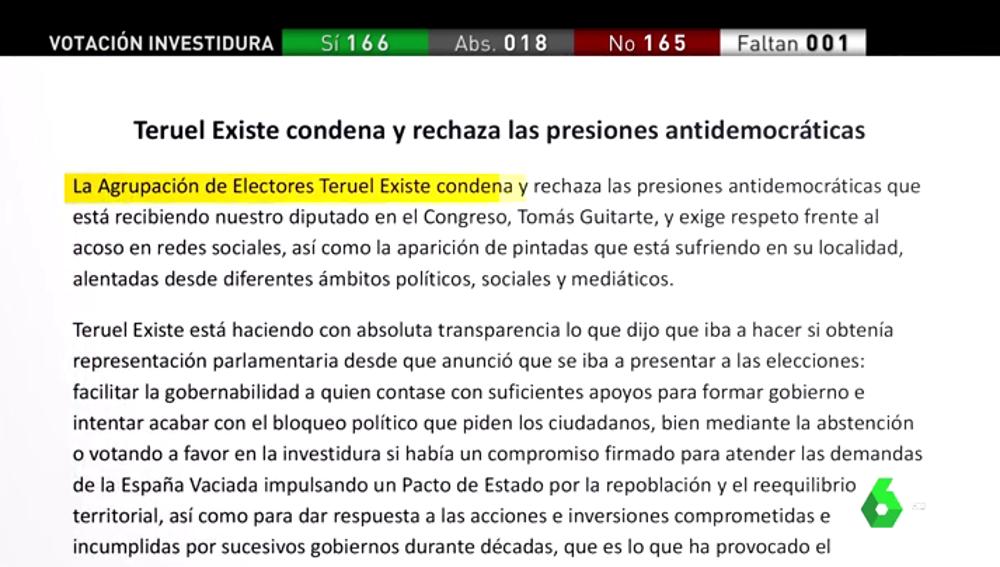 Teruel Existe condena y denuncia presiones antidemocráticas a Tomás Guitarte