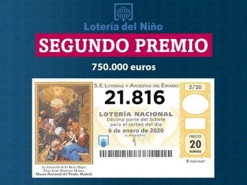 Segundo premio del sorteo de la Lotería del Niño 2020